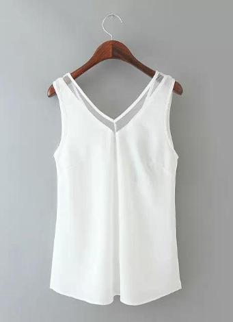 Nouveaux vêtements femme gilet col de mousseline de soie V avec maille garniture sans manches chemisier Sexy solide Tops noir/blanc