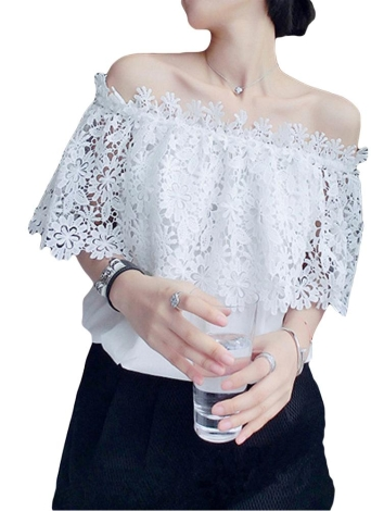 Boho Chiffon Off Shoulder Long Sleeve Lace Blouse
