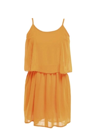 Summer Spaghetti Straps Top Pleated Mini Skirt Yellow Twinset Chiffon Dress