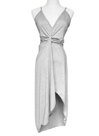 Sexy Twist Deep V Neck Backless Асимметричное платье