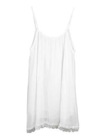 Sexy Scoop Neck Spaghetti Strap Lace Trim Sleeveless Mini Chiffon Dress