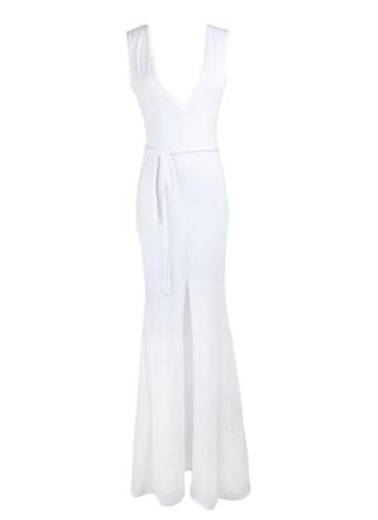 Sexy Deep V Neck Split Hem Sleeveless Solid White Dress