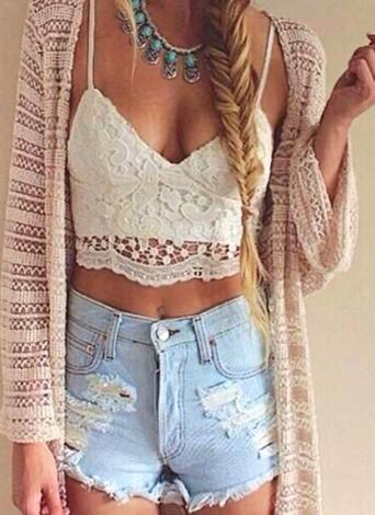 Crochet Lace Deep V Neck Crop Top