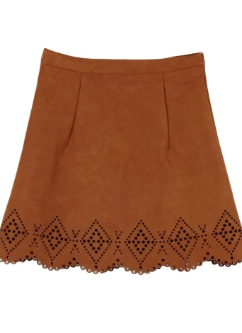 Vintage Faux Suede Hollow Out High Waist A-Line Skirt