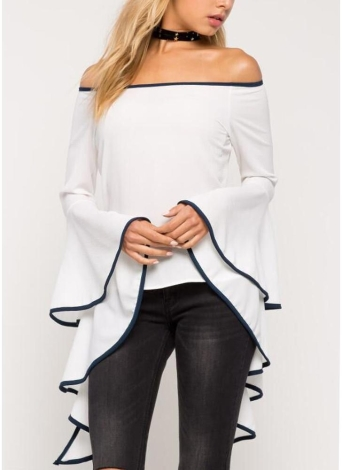 Women Blouse Off the Shoulder Ruffle Flare Long Sleeves Slash Neck Top