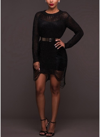 Mulheres Sheer Knit Bodycon Mini Dress Hollow Out Clubwear Party Bandage Dress