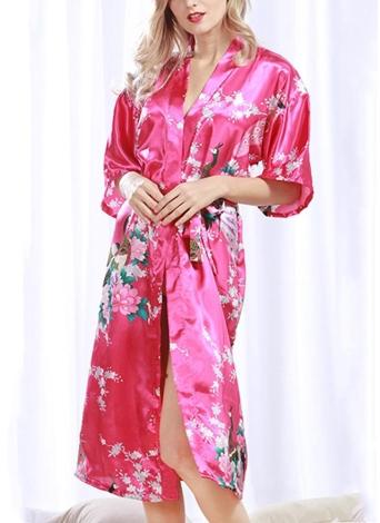 Искусственный шелковый атлас Цветочные птицы Версия для печати Открытая передняя кимоно для майки