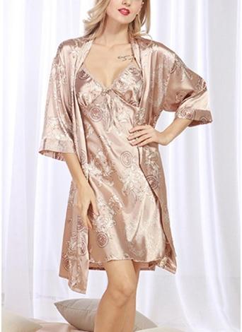 Vestido de satén con estampado vintage con estampado de pijama de mujer