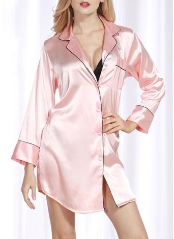 Женщины Шелковая атласная рубашка платье пижамы Turn Down воротник с длинным рукавом пижамы