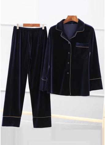 Женщины Бархат Pajama набор с длинным рукавом кнопки и брюки