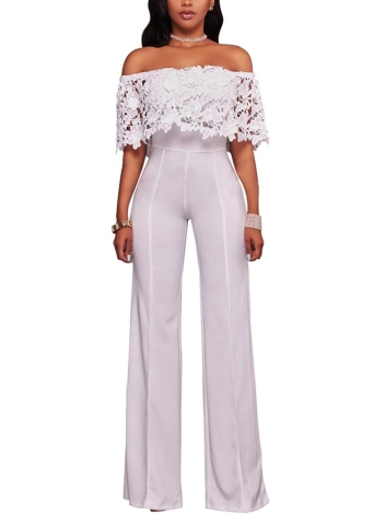 Women Jumpsuit Lace Off the Shoulder Bodysuit Slash Neck Wide Leg Trousers