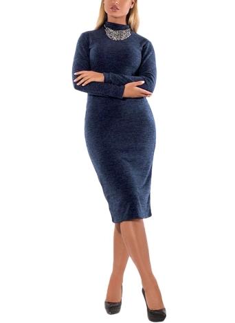 Vestido de gola de pescoço feminino com mangas compridas Vestido de esticar com bainha com tamanho grande