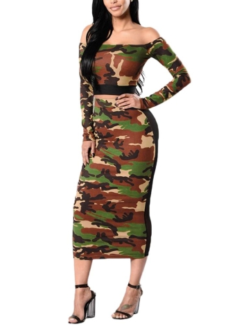 Women Camouflage Two Piece Set Costumes Sweat Tracksuit T-Shirt & Mesh Splice Skirt