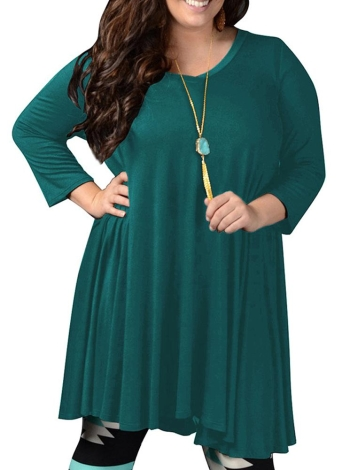 Women Pleated Midi Dress V Neck Three Quarter Sleeve