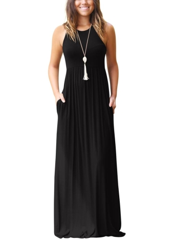 Solid Round Neck Sleeveless Racer Back Pleated Pockets Maxi Gown Dress