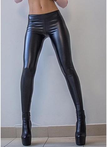 Pantalon crayon maigre taille élastique couleur métallique brillant
