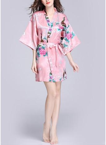 Faux Silk Satin Цветочные птицы Версия для печати Открытая передняя половина рукава Мини платье