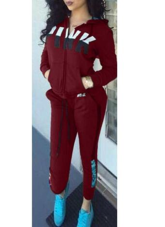 Women Sport Suits Letter Print Hoodie Long Sleeve Sweatshirt Pants Casual Tracksuit