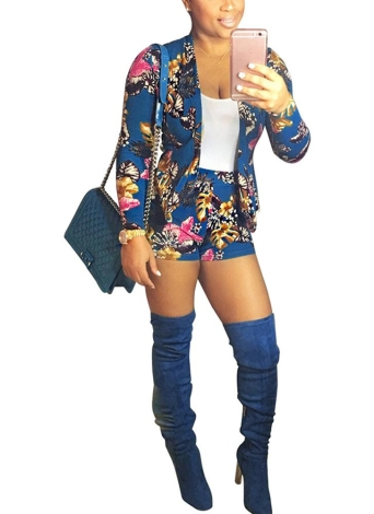 Floral Printed Blazer Set Long Sleeve Two Piece Track Suits