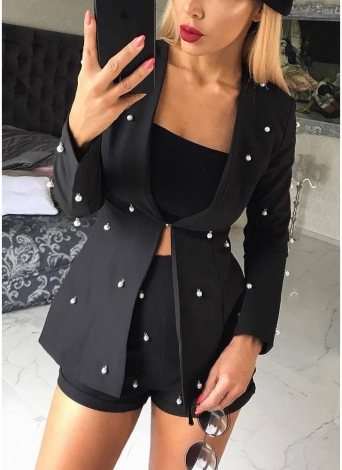 Embellished Pearl Blazer Set Two Piece Outfits