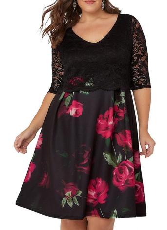 Plus Size Lace Top Floral Print V Neck Half Sleeves Dress