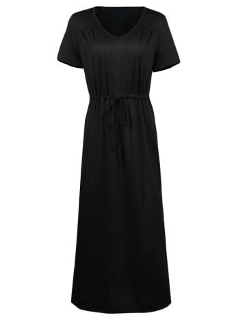 Manches longues col v taille élastique solide robe maxi élégante