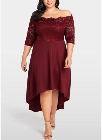 Femmes Party Dress Plus Size Dentelle festonnée Nightclub Vestidos Dress