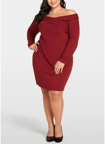 Frauen Plus Size Strickkleid Cross Front Langarm Slim Minikleid