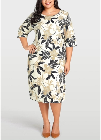 Women Plus Size Dress Leaves  Half Sleeve Casual Loose Large Size Dress