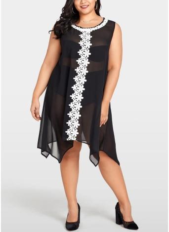 Женщины Плюс размер шифон платье Sheer Beach Midi платье нерегулярные Shift платье