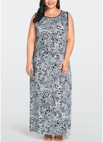 Vestido largo sin mangas con estampado floral Vestido largo sin mangas con estampado floral