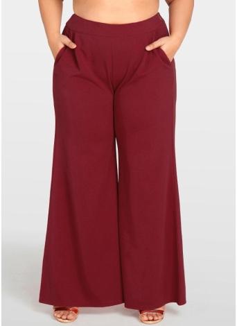 Женщины плюс размер Широкие штаны для ног Карманы Твердые штаны для брюк Брюки Брюки