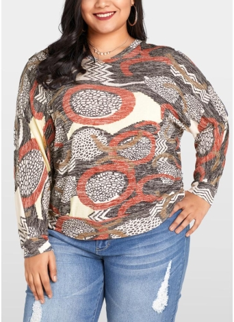 Women Plus Size Blusa Geometric Print Bat Long Sleeves O-neck Loose Top