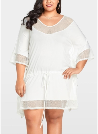 Women Plus Size Loose Dress Mesh Splice Drawstring Casual Vestidos Midi