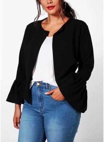 Solid Front Noir Femmes Ruffle Veste Manches 7xl Plus Open Size 0OvN8wmn