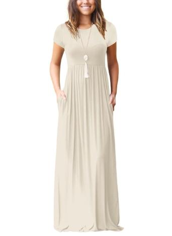 Women Maxi Long Dress Short Sleeves O-Neck Pockets Party Evening A-Line Dresses