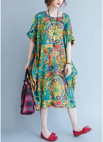 Boho Cotton Graffiti Printing Dress Short Sleeve Linen Pockets Midi Dress