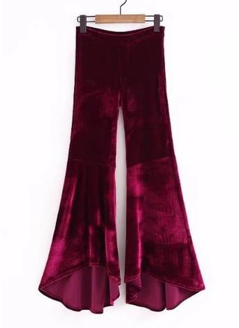 Velvet Flared High Waist Solid Wide Leg Pants Long Trousers