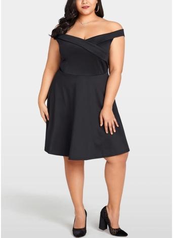 Frauen Plus Size Kleid Slash Neck V Zurück Hohe Taille Kleid