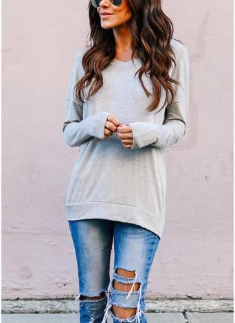 Camiseta sin respaldo de mujer Camiseta sin mangas con cuello en V de manga larga