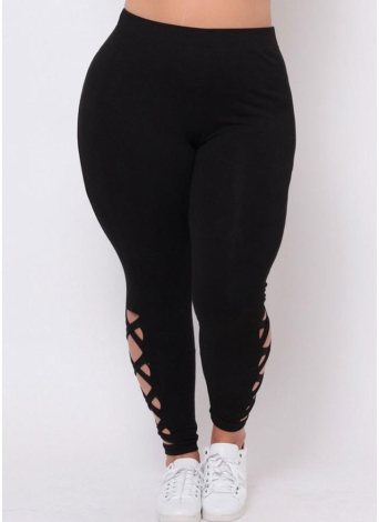 Plus Size Hollow Out Cross Straps Side Pants