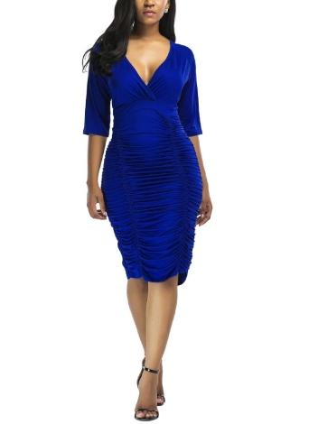 Женщины Ruched Bodycon Платье с длинными рукавами Slim Party Club Midi Dress