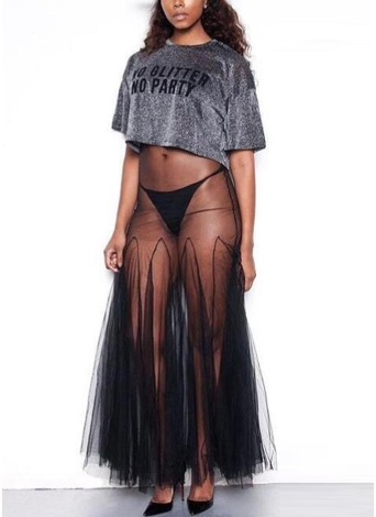 Sheer Mesh Pleated Strappy Sleeveless Party Club Maxi Dress