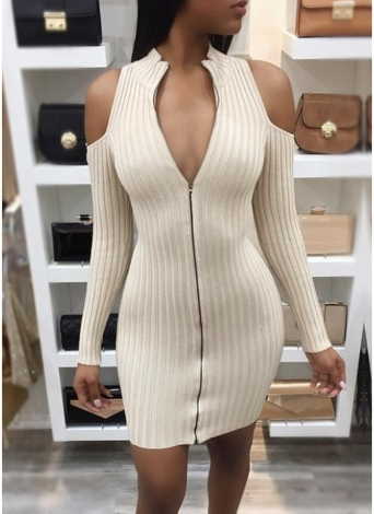 Women Bodycon Mini Dress Zip Opening Cold Shoulder  Bandage Party Dress Clubwear