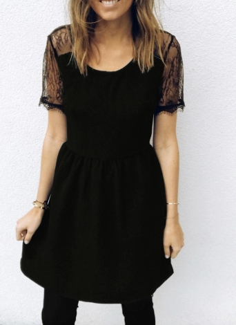 Women Lace Splice Dress Short Sleeves Backless  Zip Party Club Mini Dresses