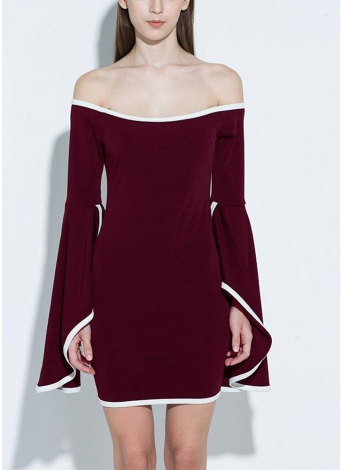 Women Off the Shoulder Mini Dress Flare Sleeve Bodycon Bandage Party Dress