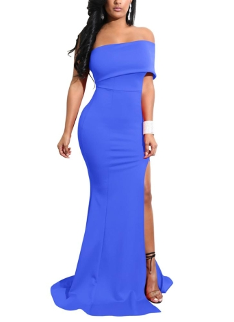 Mulheres Mermaid Maxi Dress High Split Solid Slim Cocktail Party Vestido longo