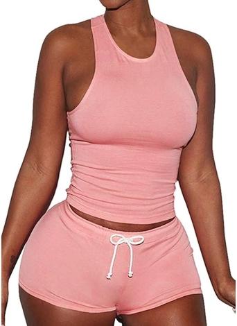Women Crop Top + Shorts Yoga Sports Set