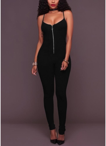Mulheres Solid Jumpsuit Front Zipper Playsuit Slim Overalls Long Pants