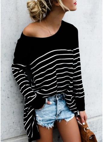 T-shirt asymétrique à manches longues à manches longues et rayures
